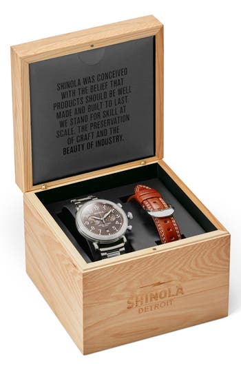 Shinola The Runwell Chronograph Watch Gift Set, 41Mm