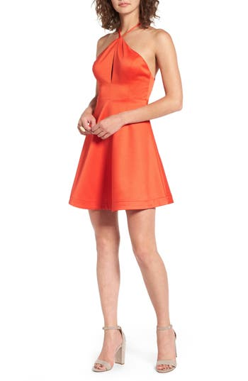 Lush Fit & Flare Dress, Red