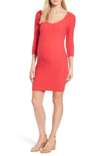 Tees By Tina Crinkle Maternity Sheath Dress, Size One Size - Coral