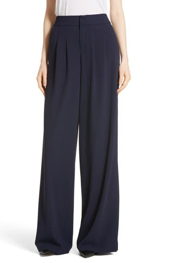 Alice + Olivia Shavon High Waist Side Slit Flare Pants, Blue