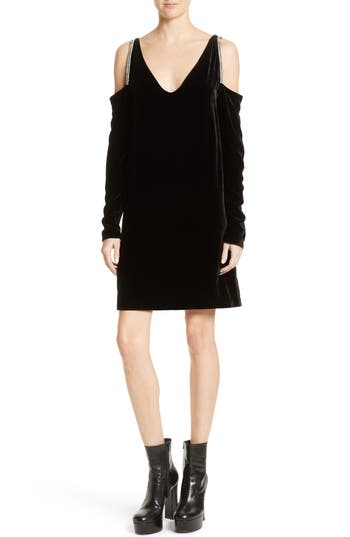 Mcq Alexander Mcqueen Diam Velvet Cold Shoulder Dress, 0 4 IT - Black