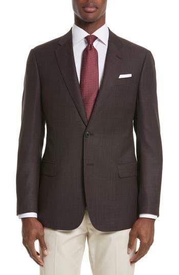 Armani Collezioni Trim Fit Dot Wool Sport Coat, 4R EU - Burgundy