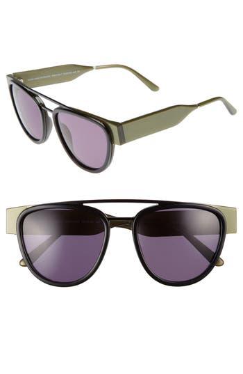 Men's Smoke X Mirrors Soda Pop 2 52Mm Round Sunglasses - Matte Black/ Green Grey