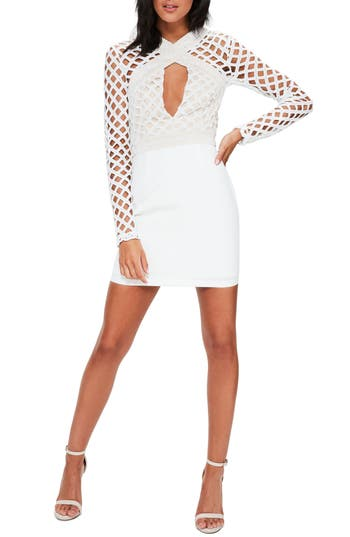 Missguided Lace Cutout Body-Con Dress, US / 6 UK - White