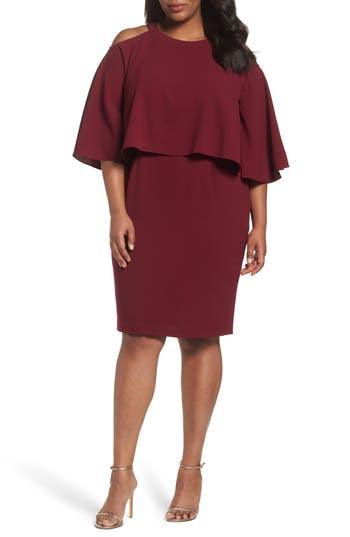Plus Size Adrianna Papell Cold Shoulder Crepe Sheath Dress, Red