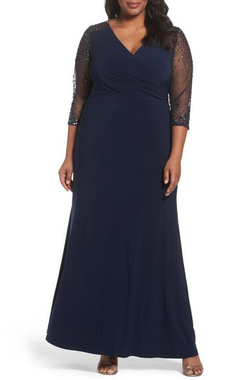 Plus Size Adrianna Papell Embellished Jersey Gown, Blue