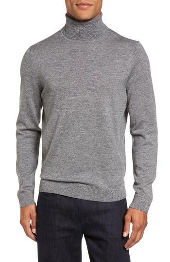 Big & Tall Nordstrom Shop Merino Wool Turtleneck Sweater, Grey