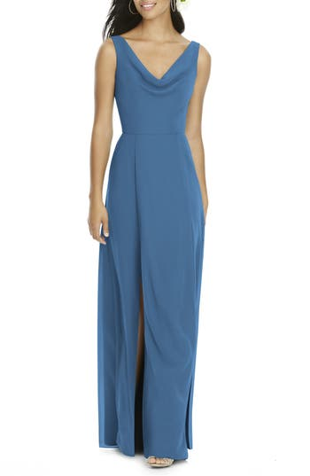Social Bridesmaids Cowl Neck Chiffon Gown, Blue