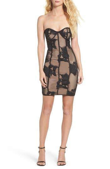 Bardot Flower Mesh Bustier Dress, Black
