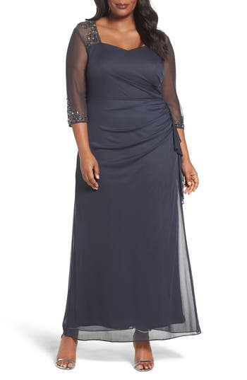 Plus Size Alex Evenings Embellished Side Pleat Sweetheart Gown