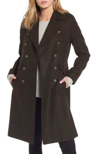 Women's French Connection Long Wool Blend Military Coat, Size 8 - Green