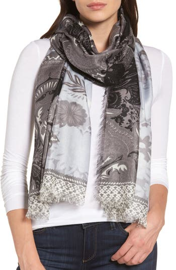 Women's Nordstrom Bohemian Paisley Cashmere & Silk Scarf