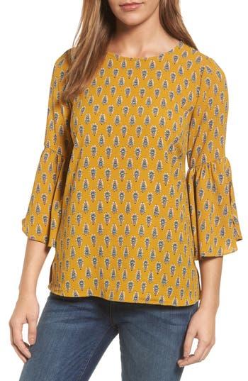 Women's Bobeau Split Ruffle Sleeve Top, Size X-Large - Yellow