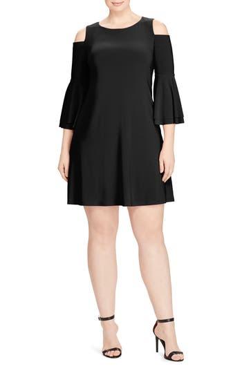 Plus Size Lauren Ralph Lauren Cold Shoulder A-Line Dress, Black
