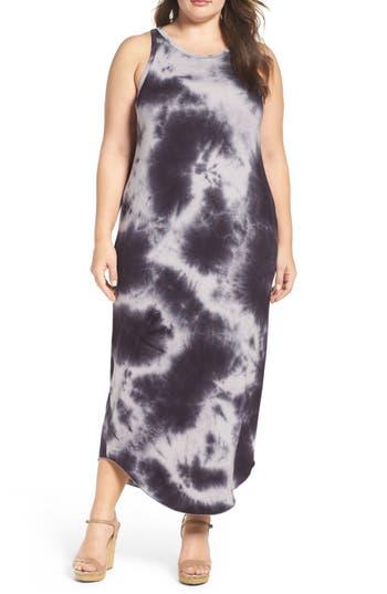 Plus Size Sejour Tie Dye Maxi Tank Dress, Black