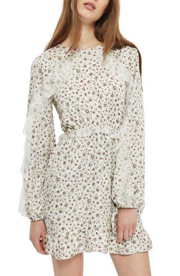 Topshop Daisy Print Skater Dress, US (fits like 6-8) - Ivory