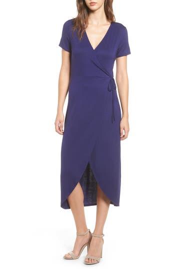 One Clothing Knit Wrap Midi Dress, Blue
