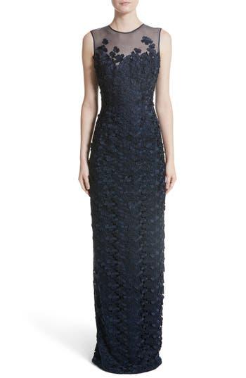 Carmen Marc Valvo Floral Lace Column Gown, Blue