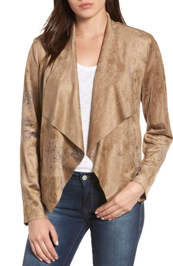 Women's Kut From The Kloth Tayanita Floral Faux Suede Jacket