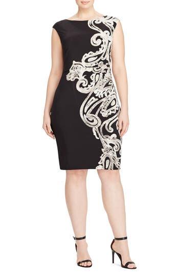 Plus Size Lauren Ralph Lauren Placed Print Jersey Sheath Dress