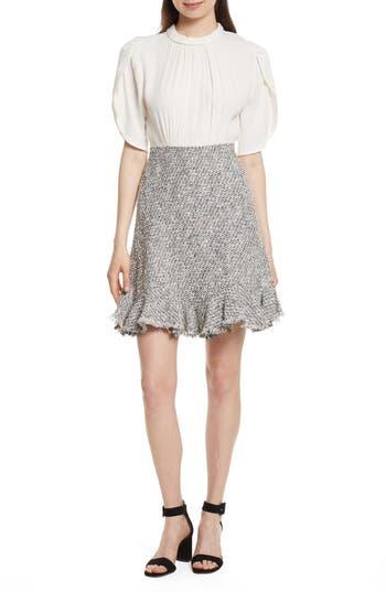 Rebecca Taylor Silk & Tweed A-Line Dress, Black