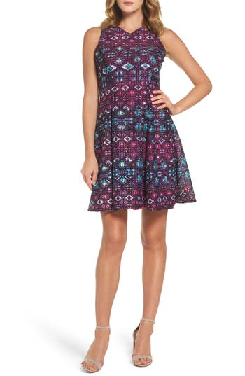 Maggy London Textured Fit & Flare Dress, Purple