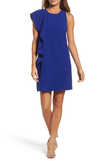 Chelsea28 Asymmetrical Ruffle Shift Dress, Blue