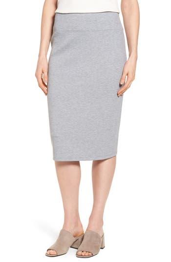 Halogen Neoprene Knit Pencil Skirt, Grey