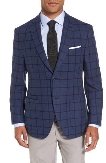 Jkt New York Trim Fit Windowpane Wool Blend Sport Coat, 0 R - Blue