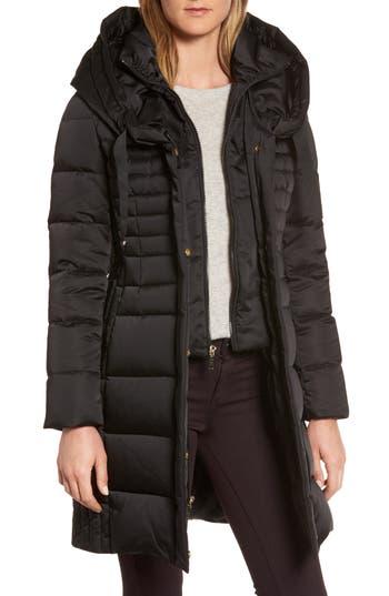 Tahari Mia Down & Feather Fill Coat, Black
