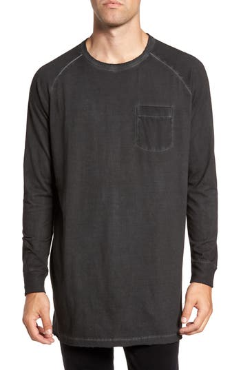 French Connection Pigment Dye Longline T-Shirt, Black