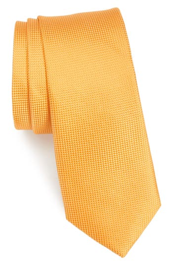 Men's Nordstrom Men's Shop Maison Solid Silk Skinny Tie, Size Regular - Orange