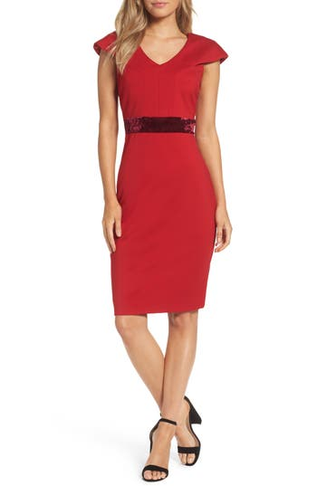 Taylor Dresses Velvet Trim Crepe Sheath Dress, Red
