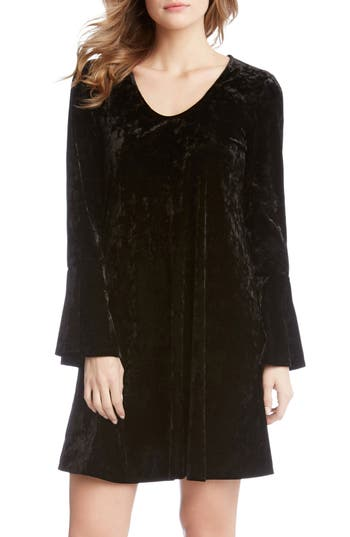 Karen Kane Bell Sleeve Velvet Dress, Black