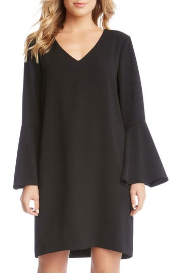Karen Kane Madeline Bell Sleeve Shift Dress, Black