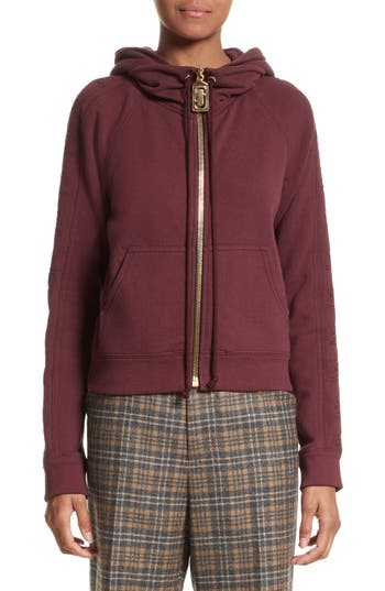 marc jacobs female womens marc jacobs embroidered sleeve hoodie size xsmall burgundy