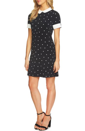 Cece Triangle Print Stretch Knit Dress, Black