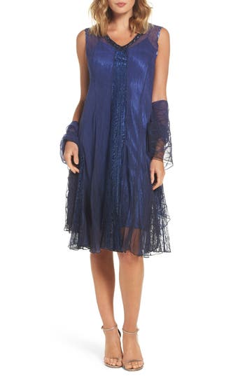 Komarov Embellished A-Line Dress With Wrap, Blue