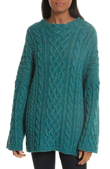 Women's Milly Oversize Fisherman Cable-Knit Sweater, Size Petite - Blue/green
