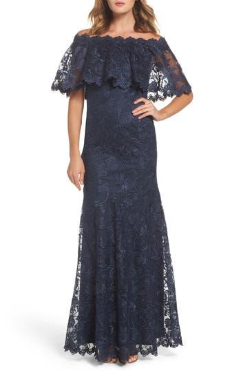 Tadashi Shoji Off The Shoulder Lace Gown, Blue