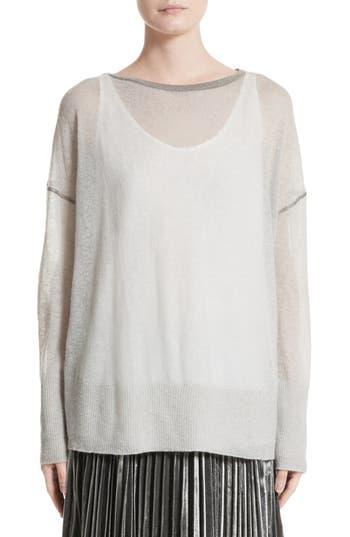 Women's Lafayette 148 New York Sequin Trim Sweater With Tank, Size Petite - Grey