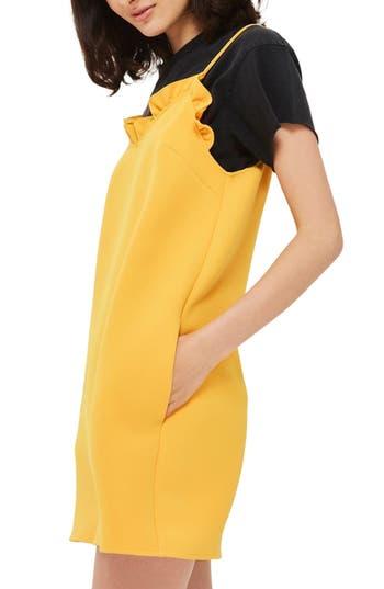 Topshop Ruffle Trim Shift Minidress, US (fits like 0) - Yellow