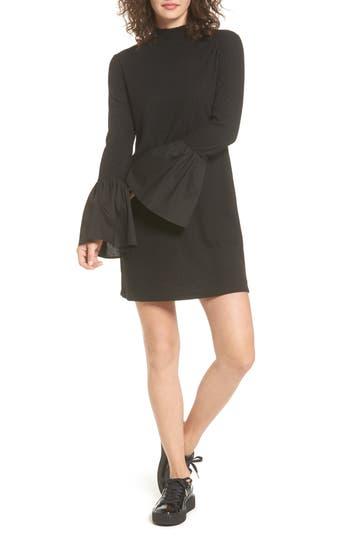 Everly Bell Sleeve Rib Knit Dress, Black