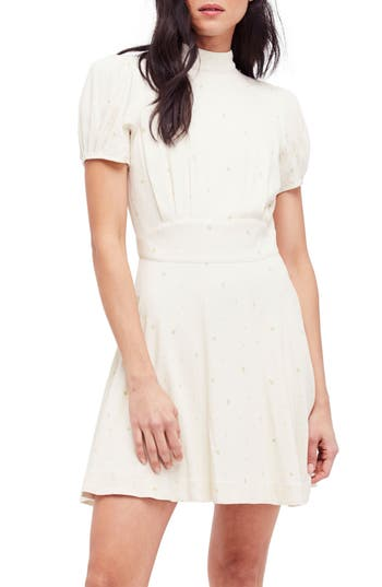 Free People Abbie Fit & Flare Dress, Ivory
