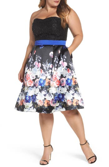 Plus Size MAC Duggal Floral Print Strapless Fit & Flare Dress, Black