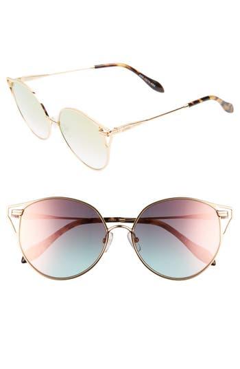 Women's Sonix Ibiza 55Mm Cat Eye Sunglasses - Gold Wire/ Rose Mirror