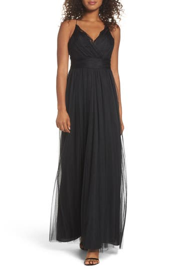 Watters Aria Lace & Tulle Gown, Black