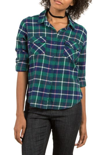 Volcom New Flame Plaid Flannel Shirt, Green
