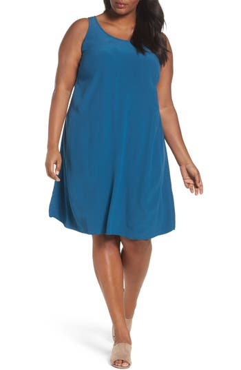 Plus Size Eileen Fisher Tencel Blend A-Line Shift Dress, Blue