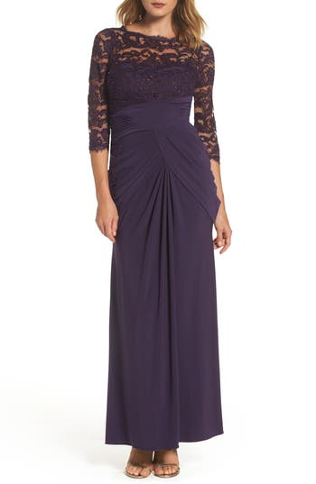 Adrianna Papell Lace & Draped Jersey Gown, Purple